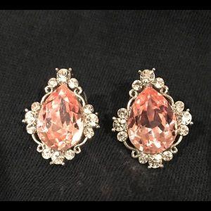 Jewelry - Pink Crystal Pierced Earrings Prom Pageant